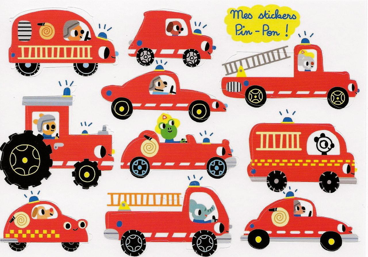 Feuerwehrfahrzeuge Stickerkarte Im Kinderpostershop Kaufen