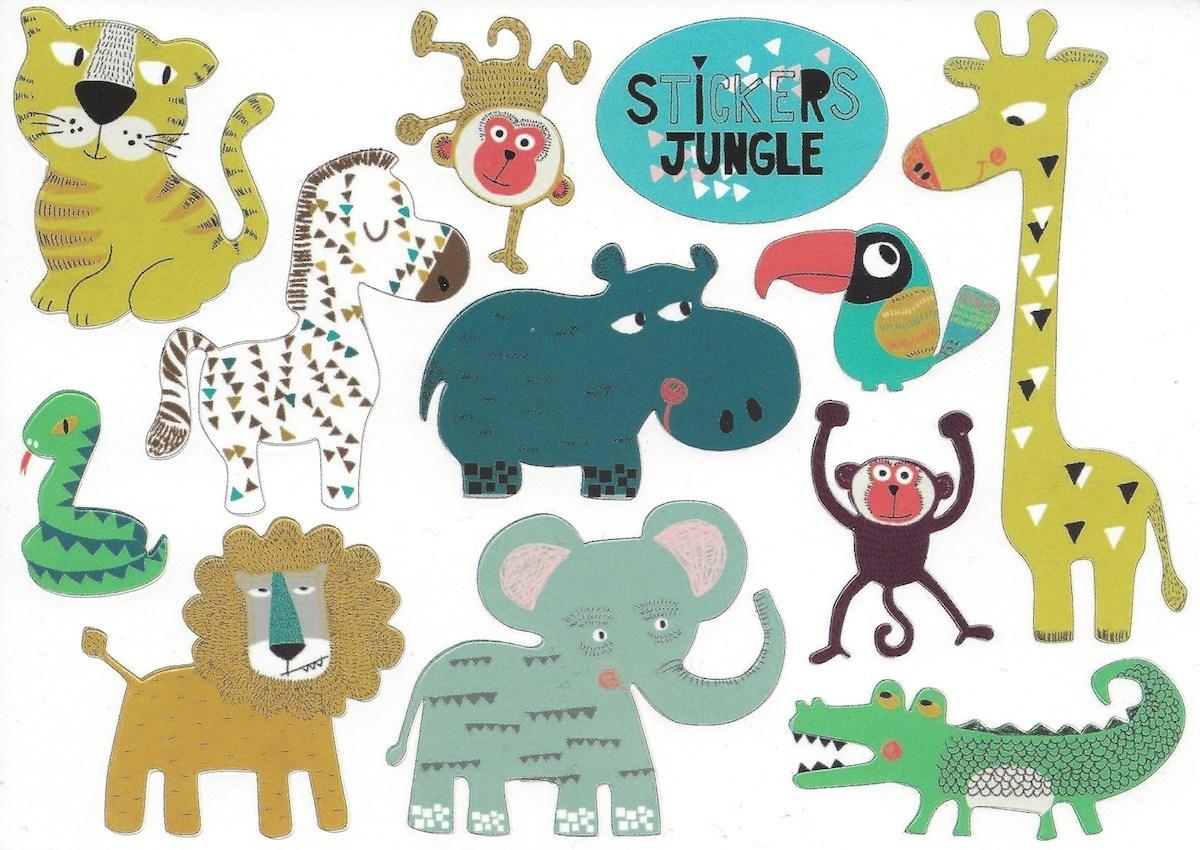 stickers jungle postcard in. Black Bedroom Furniture Sets. Home Design Ideas