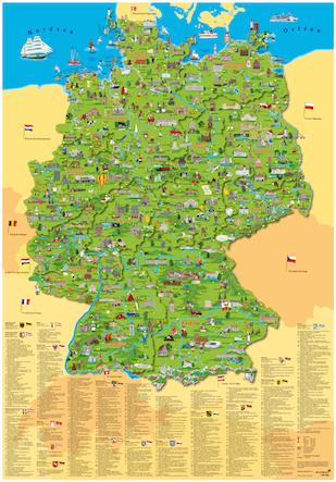 sehenswürdigkeiten deutschland karte Deutschlandkarten | Deutschland Poster im Kinderpostershop auswählen