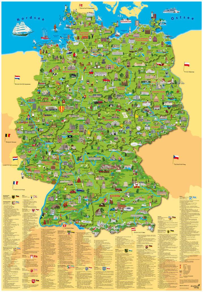 www deutschland karte Landkarten von Deutschland für Kinder im Kinderpostershop bestellen