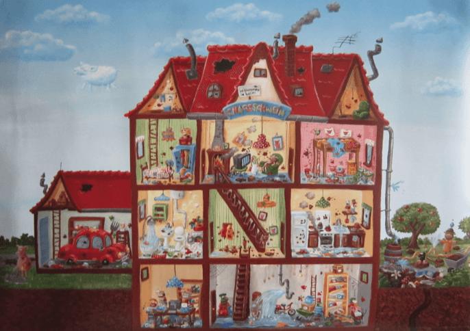 Wimmelbild vom chaos schwein im kinderpostershop for Haus suchen