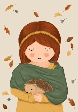 Girl with a hedgehog