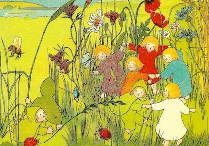 The root children on the meadow