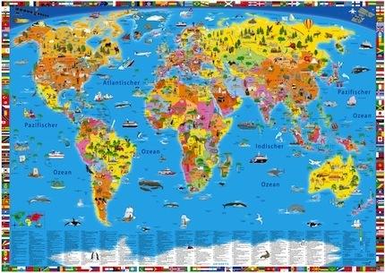 Weltkarte für Kinder | Landkarte mit Flaggen im Kinderpostershop