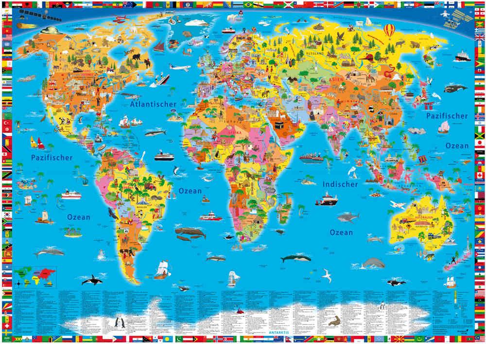 World Map For Children In German Kinderpostershop De