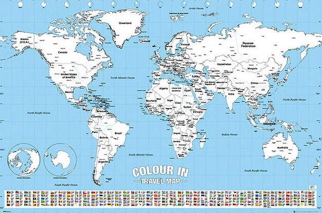 Weltkarte Zum Ausmalen Und Bemalen Im Kinderpostershop Bestellen