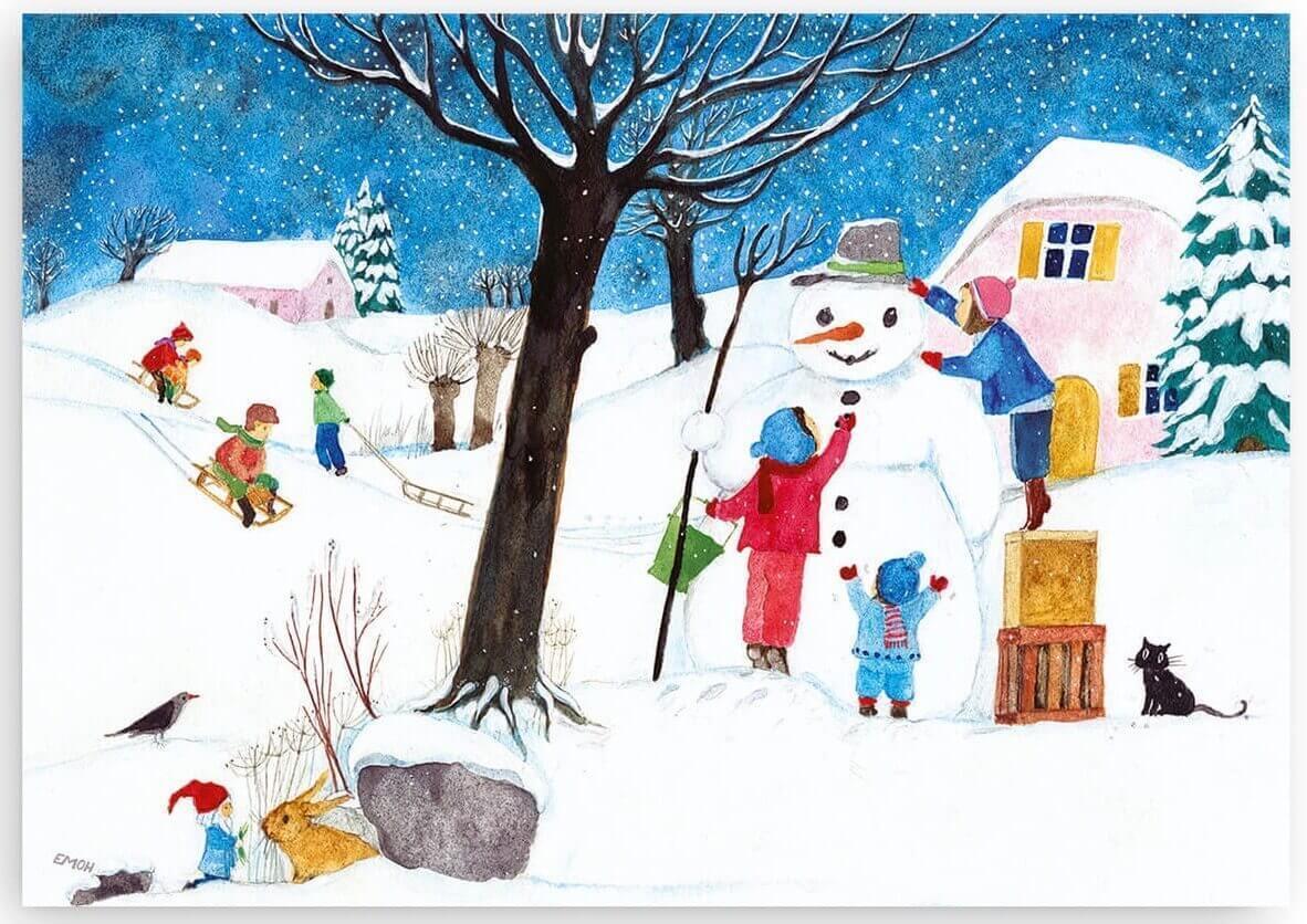 winterbild für kinderzimmer deko oder kindergarten im