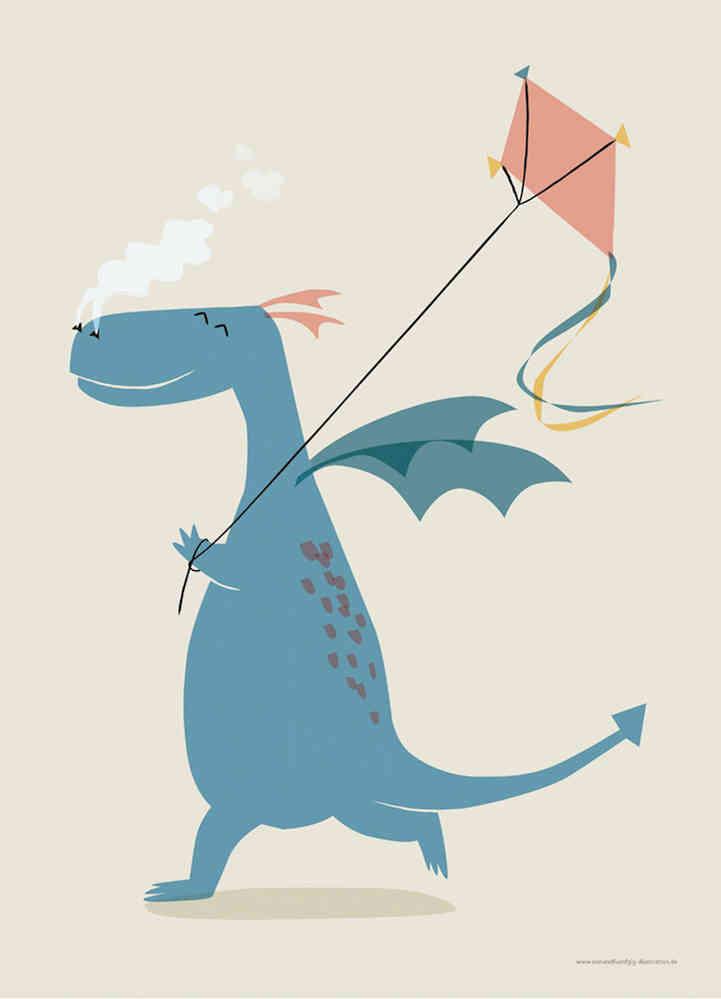 Drachen Poster - Kinderzimmer Deko im Kinderpostershop kaufen